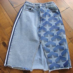 Very Unique One-of-a-Kind Denim Frayed Skirt